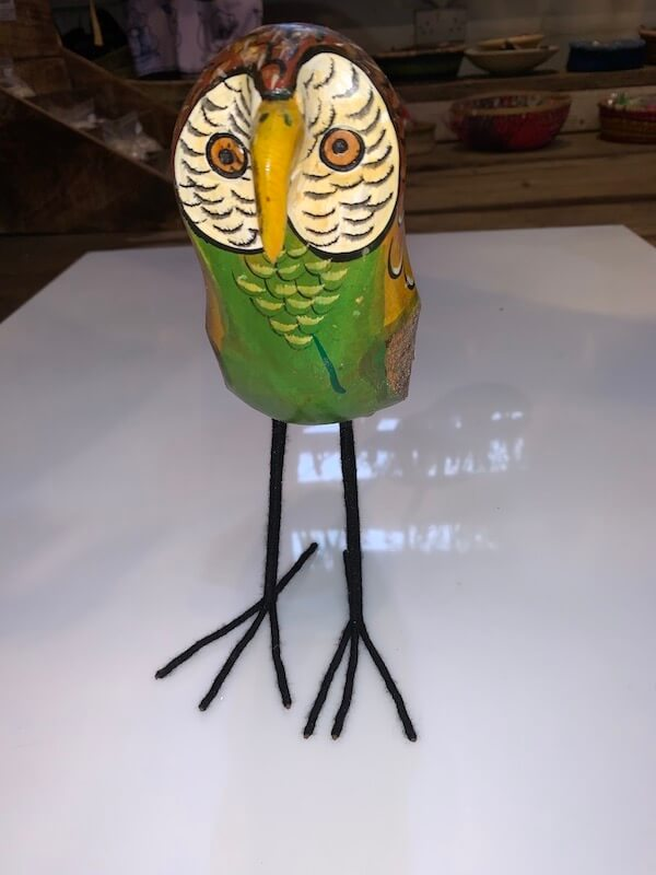 Hand Painted Wooden Owl Sculptures