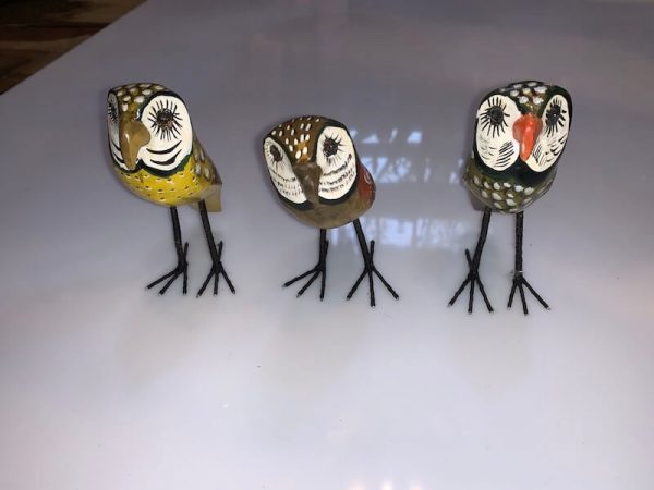 Hand Painted Wooden owl x 3
